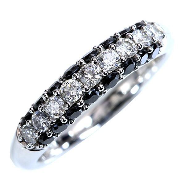 春先取りの ブラックダイヤ&無色ダイヤモンド 1.カラット リング/指輪 K18WG 合計1カラット モノトーンパヴェ センスありPAVA/黒(ブラック)//届5/, 車力村 ff48e69f