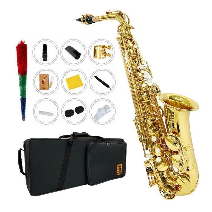 アルトサックス11点セット E Saxophone ケース付き ゴールドラッカー 今季も再入荷 Seasonal Wrap入荷