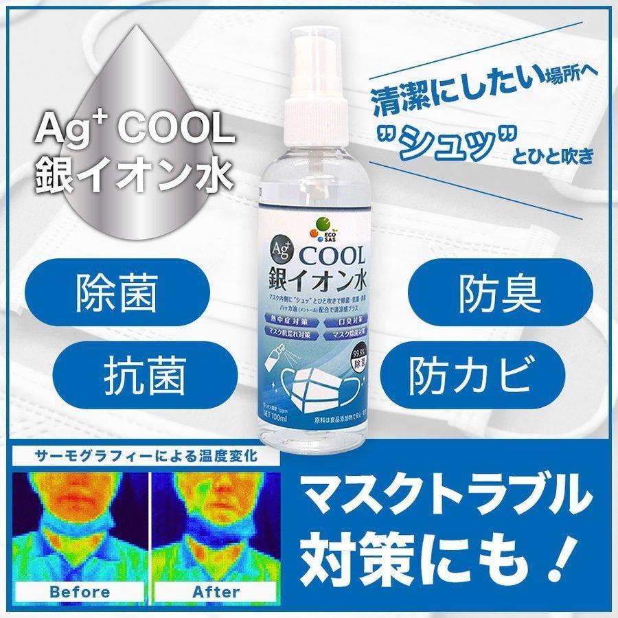 マスクスプレー ECOSAS Ag+ 銀イオン水 100ml×2本組 除菌 抗菌 消臭効果|luckykogei|02