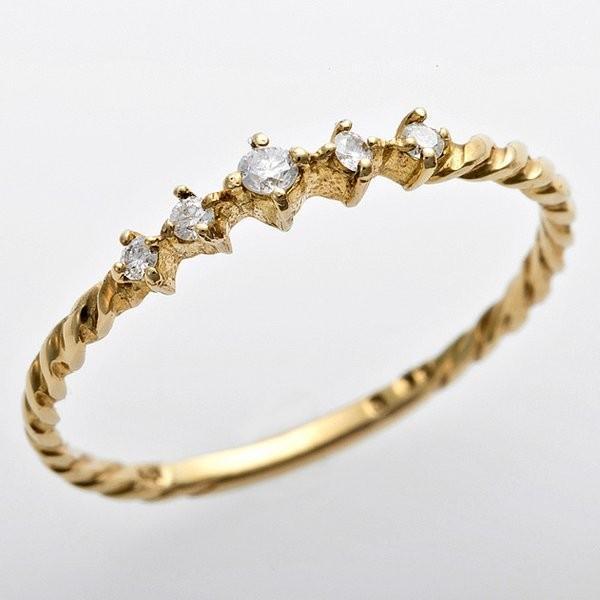【ファッション通販】 K10イエローゴールド 天然ダイヤリング 指輪 ダイヤ0.06ct 9.5号 アンティーク調 プリンセス, タカヤナギマチ c154708c