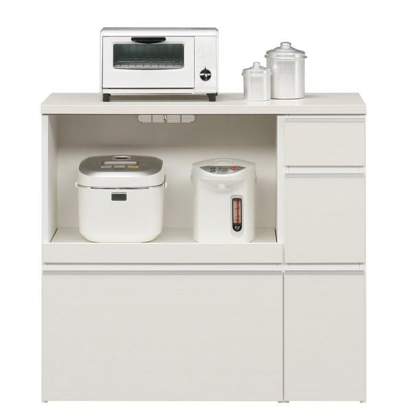 キッチンカウンター 幅100cm 二口コンセント/スライドテーブル/引き出し付き 日本製 ホワイト(白) 〔完成品〕〔代引不可〕