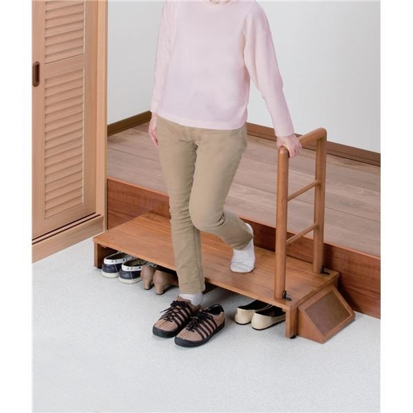 天然木手すり付き玄関踏み台 天然木手すり付き玄関踏み台 天然木手すり付き玄関踏み台 70cm幅〔代引不可〕 ae8