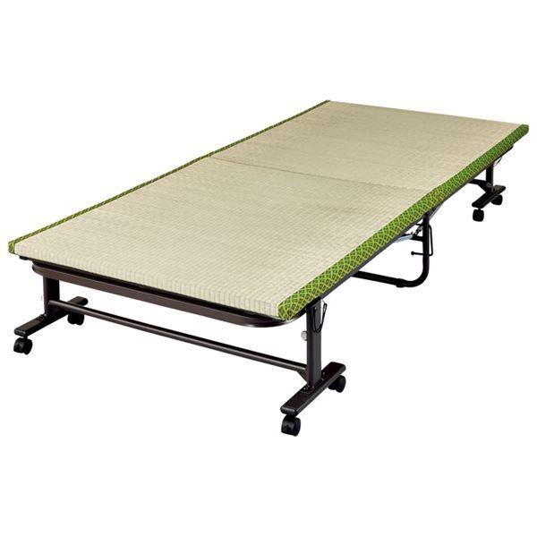 い草畳折りたたみベッド 〔シングル 幅91.5cm〕 スチールフレーム スチールフレーム キャスター付き 〔寝室 ベッドルーム〕