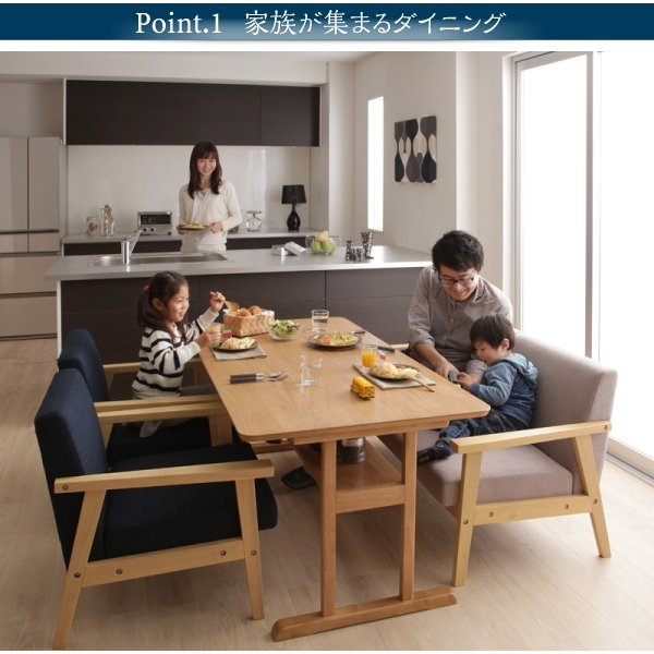 収納付きダイニングテーブルセット 3点 〔テーブル幅120cm+2人掛けソファ2脚〕 T字脚|lukit|05