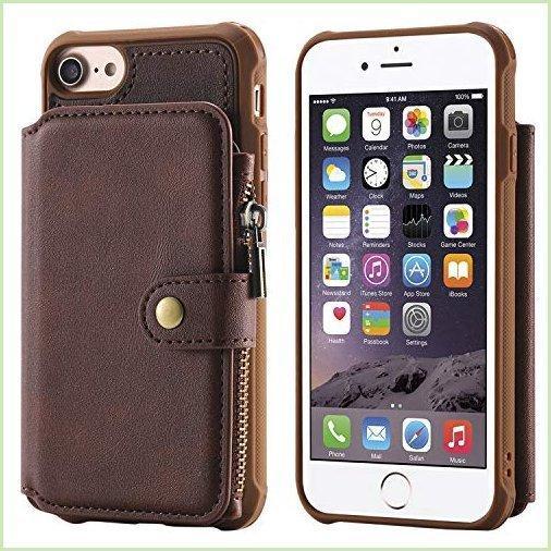 iPhone Xs X iPhone 10用ウォレットケース ジッパーレザー コーヒーカードキャッシュスロット 大容量 保護カ|lulien-store