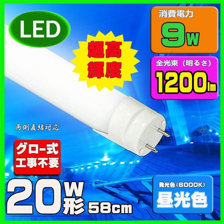 新品未使用正規品 LED蛍光灯 20w形 58cm 直管20W グロー式工事不要 昼光色 2020新作 直管LED照明ライト