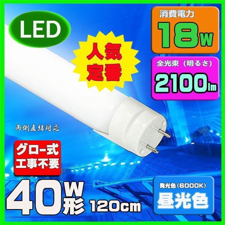 LED蛍光灯 40w形 120cm 4年保証 昼光色 40W型 グロー式工事不要G13 即出荷 t8 直管LED照明ライト