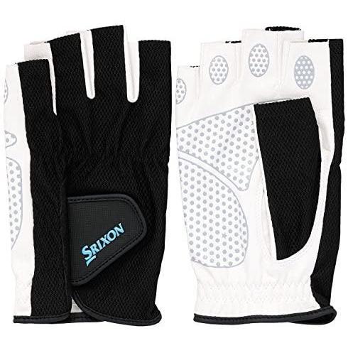 SRIXO #SRIXON(スリクソン) テニス メンズ用 シリコンプリント グローブ ハーフタイプ (両手セット) (ブラック Mサイズ) lunasea