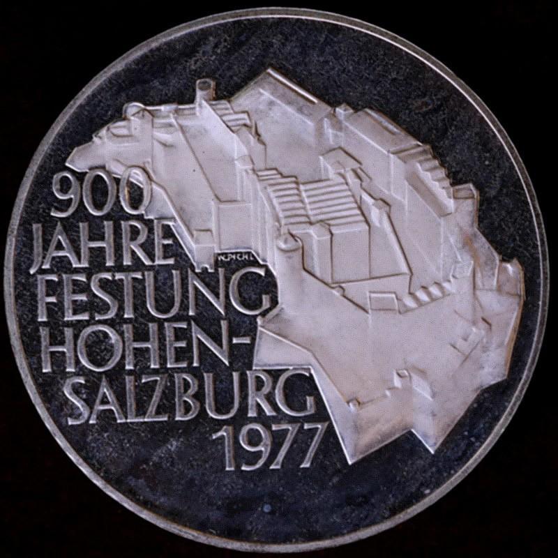 オーストリア 1977年 100シリング プルーフ銀貨 ホーエンザルツブルク城 900周年記念