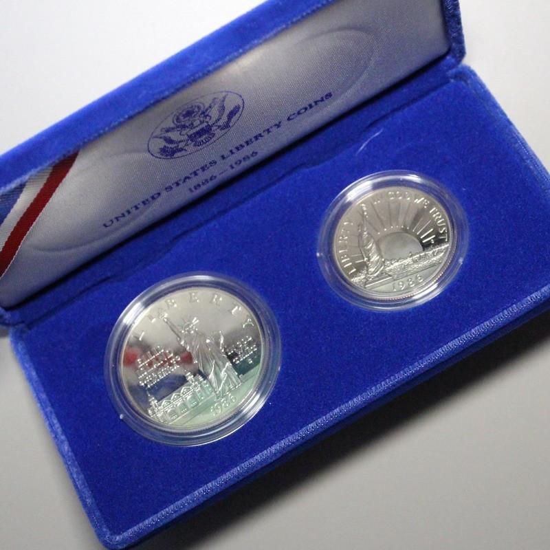 アメリカ 自由の女神 1986年 プルーフ貨2枚セット ケース入り