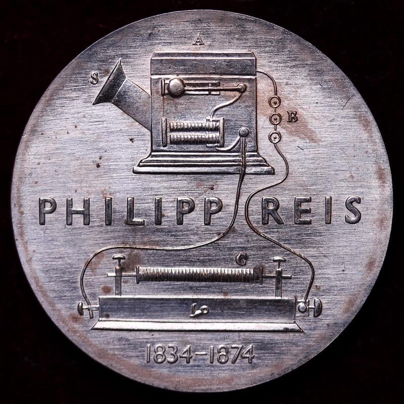 東ドイツ 1974年 5マルク フィリップ・ライス没後100年白銅貨