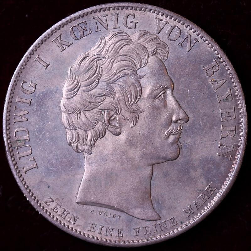 ドイツ 1828年 バイエルン  ルートヴィヒ1世  天国のロイヤルファミリー ターラー銀貨