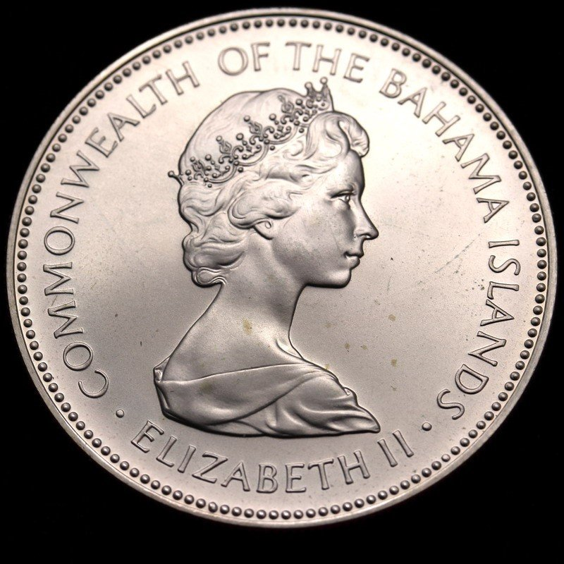 バハマ諸島 1973年 2ドル 大型銀貨 エリザベス