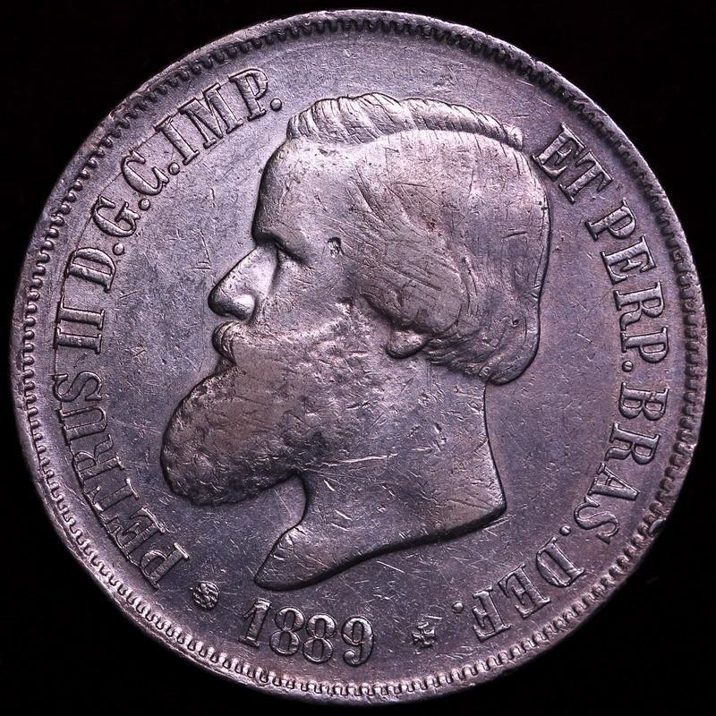 ブラジル 1889年 ベドロ2世 2000レイス銀貨