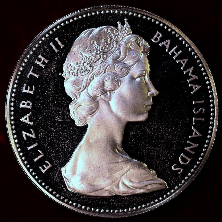 バハマ諸島 1970年 エリザベス2世 国鳥フラミンゴ プルーフ2ドル大型銀貨