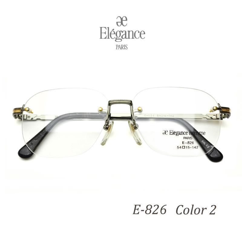 ツーポイント Elegance homme エレガンス オム E-826 C2 毎日続々入荷 専門店 ふち無し リムレス シルバーグレー フチなし 度付き 2020 日本製