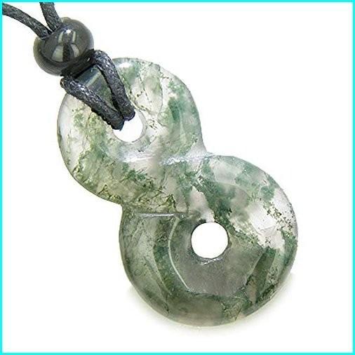 特価 Infinity Magic Powers Knot Lucky Charm Good Luck Amulet Moss Agate Pendant Necklace, ホロカナイチョウ 8116e70d
