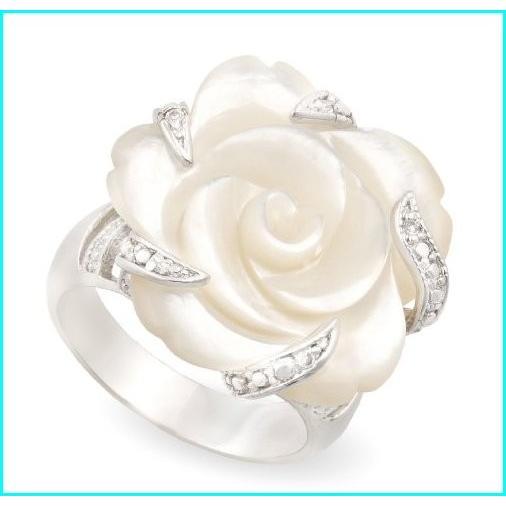 超歓迎 JanKuo Jewelry Carved Mother of Pearl Flower with CZ Cocktail Ring with Gift Box. (9), 魅力的な 2c2fac59