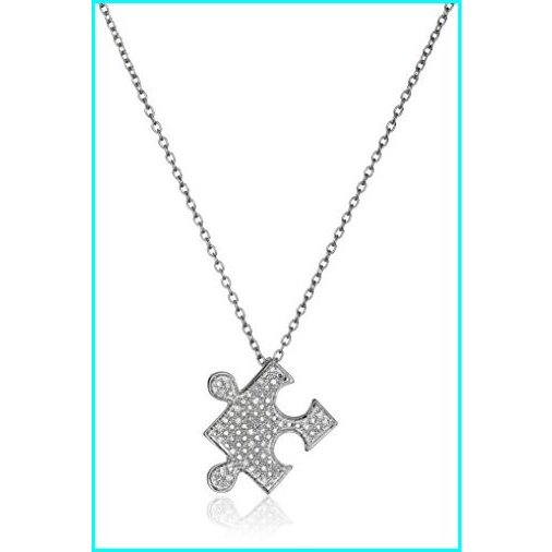 【10%OFF】 Sterling Silver Diamond Puzzle Pendant Necklace (1/10 cttw, I-J Color, I2-I3 Clarity), トレジャーマーケット caeb7d93