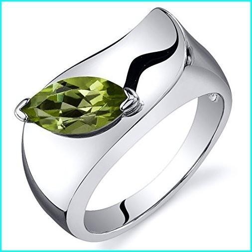 熱販売 Peridot Ring Sterling Silver Marquise Shape 1.00 Carats Size 8, namename 9e31282b