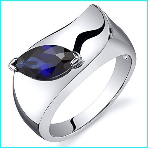 安い Peora Created Blue Sapphire Ring in Sterling Silver, 1.25 Carats, Marquise Shape, 10x5MM, Sizes 5-9, リシリチョウ d29d8230