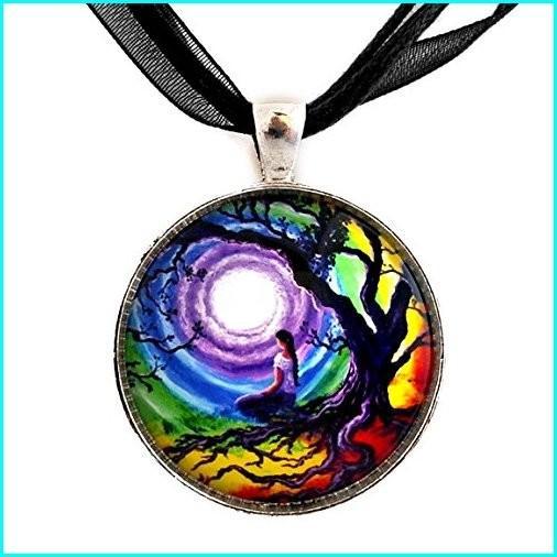 入園入学祝い Chakra Pendant Tree of Life Meditation Necklace Handmade Jewelry Bohemian Gyspy Woman Colorful Art, ロール紙ラベルの中川ダイレクト 8fbdccb7