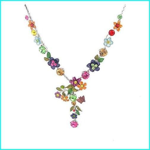 2019高い素材  Glamorousky Colorful Flower Necklace with Multi-Color Austrian Element Crystals (979), ふぁんくる 87d6382c