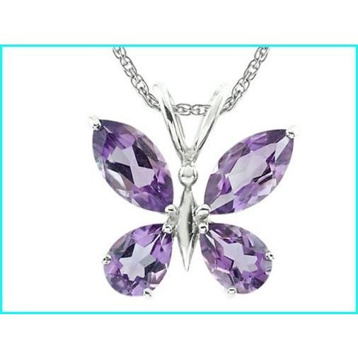 『1年保証』 Finejewelers Marquise and Pear Shaped Amethyst Butterfly Pendant Necklace with Rope Chain Sterling Silver, オレンジ園 ef3c5e78