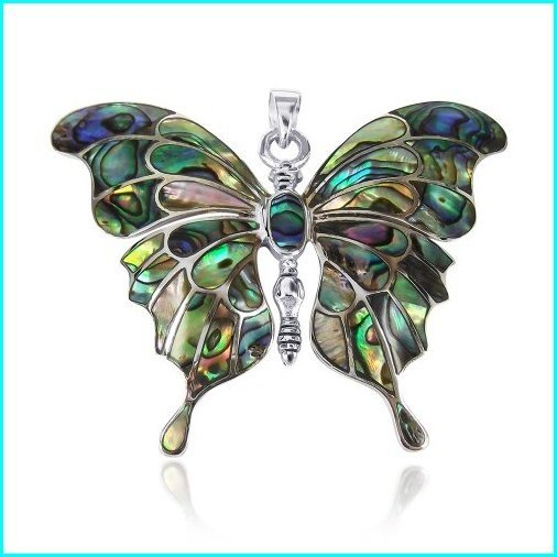 人気定番の AeraVida Gorgeous Big Butterfly Multicolor Multicolor Abalone Butterfly Shell .925 Sterling Big Silver Pendant, シームレスインナーSMOON-スムーン:993e0840 --- airmodconsu.dominiotemporario.com