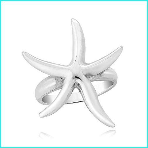 【再入荷!】 AeraVida Trendy Shiny Curvy Starfish .925 Sterling Silver Ring (9), 曙文房 7ae858c2