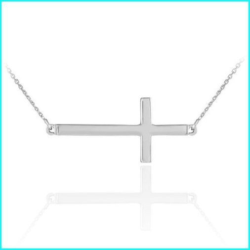 【SALE】 925 Sterling Silver Celebrity Sideways Cross Pendant Necklace with 18