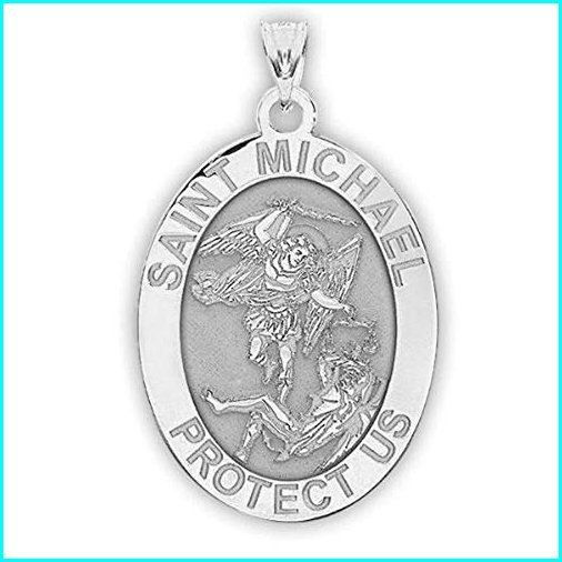 【NEW限定品】 PicturesOnGold.com Saint Michael Oval Religious Medal - 2/3 X 3/4 Inch Size of Nickel, Sterling Silver, KOMO 45d5b39e