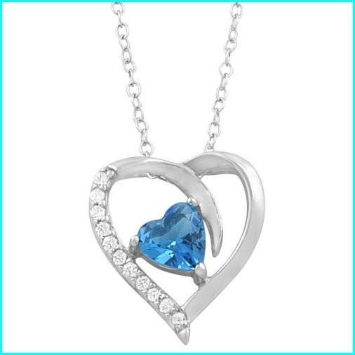 全日本送料無料 Kooljewelry Sterling Silver Blue Cubic Zirconia December Birthstone Heart Necklace (18 inch), リコロshop 713f7e4d