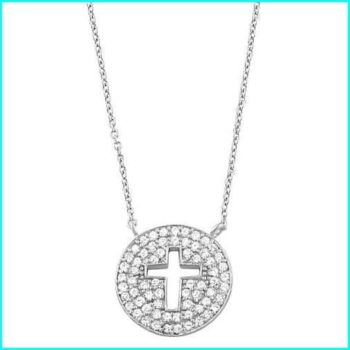 【残りわずか】 Kooljewelry Sterling Silver Cubic Zirconia Cross Disc Necklace (18 inch), オブセマチ d9fded8e