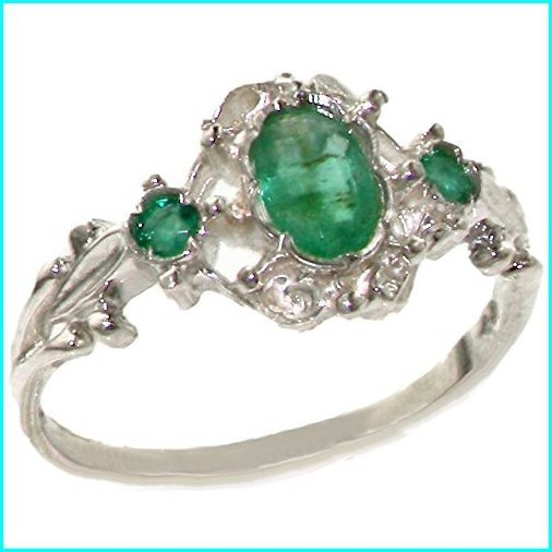 特別オファー 925 Sterling Silver Real Genuine Emerald Womens Trilogy Engagement Ring - Size 6, 久喜市 eb8da6fc