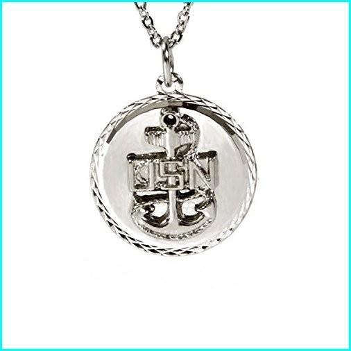 直送商品 Goldia_Canada United States Military Diamond Cut Pendant Necklace and Chain (Navy), clair mode(クレアモード) 4e9db6c3