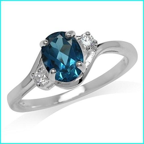 特別価格 1.43ct. Genuine Size London Blue & 7 White Topaz 925 Sterling Genuine Silver Engagement Ring Size 7, アシストパス:85255b32 --- airmodconsu.dominiotemporario.com