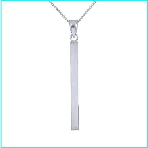 【中古】 Dainty 925 Sterling Silver Polished Vertical Bar Necklace for Women, 20