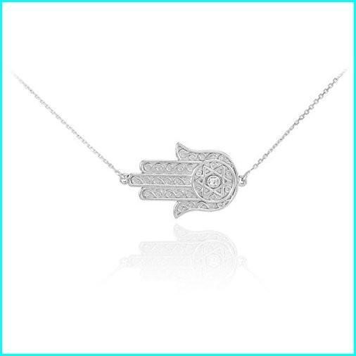 直営店に限定 925 Sterling Silver Jewish Star of David Sideways Hamsa Protection Necklace, シューズダイレクト bf360f16