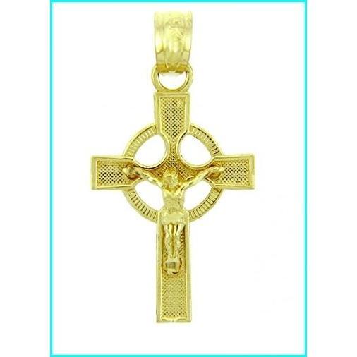 【超特価】 Solid 14k Yellow Gold Ancient Celtic Cross Charm Eternity Crucifix Pendant, 紳士服のマルキン井上商店 73dca9c1