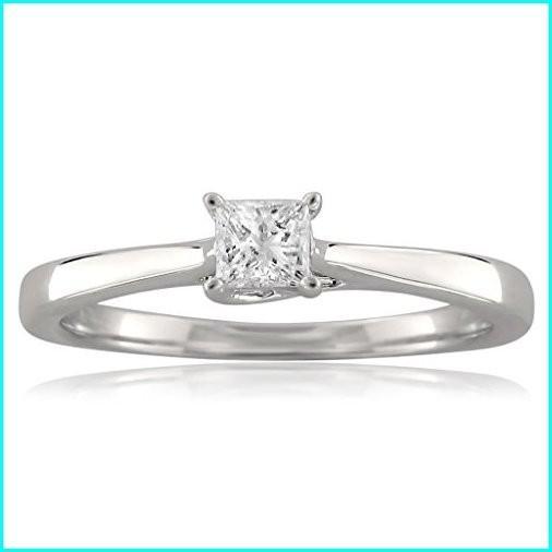 【楽天スーパーセール】 18k White Gold Princess-Cut Solitaire Diamond Engagement Ring (1/4 cttw, I-J, I1-I2), Size 7.5, 三原町 7e11a277