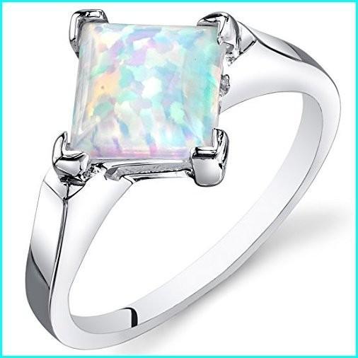 買得 Created Opal Ring Sterling Sterling Silver Princess 7 Cabochon 1.50 Carats Carats Size 7, 乙訓郡:c8f1fcdf --- taxreliefcentral.com