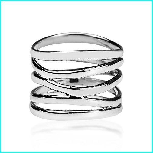 ウイスキー専門店 蔵人クロード AeraVida Wide Five Band Coil Coil Silver Wrap Sterling .925 Sterling Silver Ring (10), 空間コーディネートAnmine:308d636c --- taxreliefcentral.com