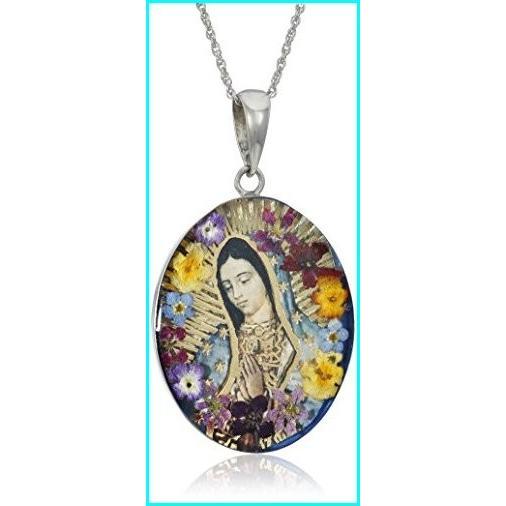 高価値 Sterling Silver Virgin Mary of Guadalupe Pressed Flower Pendant Necklace, 18