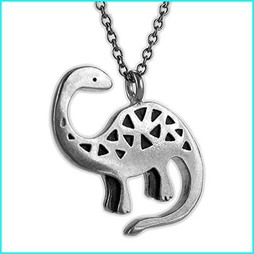 【全品送料無料】 Mark Poulin Women's Pewter Necklace Brontosaurus Dinosaur 18