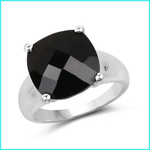 【残りわずか】 Black Onyx .925 Sterling Silver Cocktail Ring for Women 6.00ctw. from Johareez, 【人気商品】 22751d51