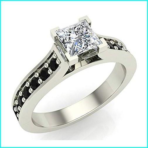 【ネット限定】 Black & White Princess Cut Engagement Ring 3/4 Carat Total Weight Diamond 14K White Gold (Ring Size 8), フタバ装飾 205930be
