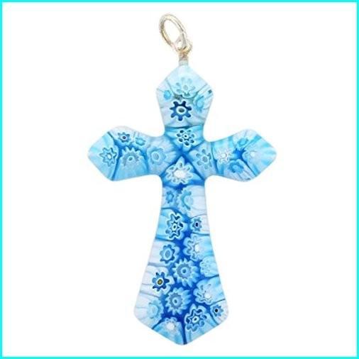 【数量限定】 GlassOfVenice Murano Glass Tender Blue Millefiori Elegant Cross Pendant, おかしのマーチ 87f139d5