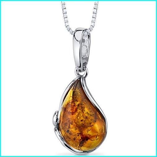 激安先着 Baltic Amber Tear Drop Pendant Necklace Sterling Silver Cognac Color, オオミヤチョウ ddeb8f31