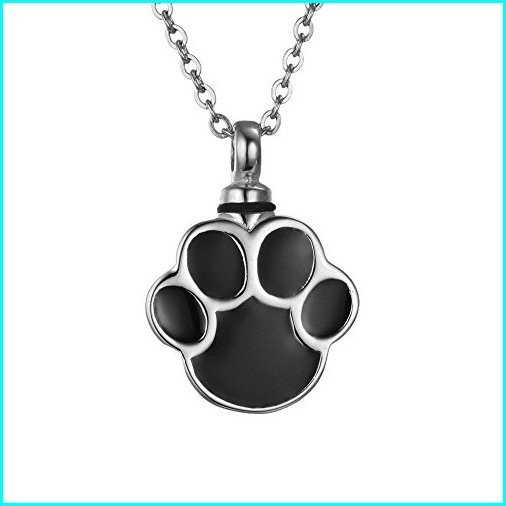 新しいスタイル VALYRIA Cremation Jewelry Silver Stainless Steel Puppy Dog Paw Urn Pendant Necklace Memorial Ash Keepsake, クレアオンライン b305faea